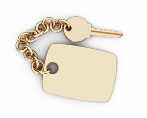 Golden key with keychain