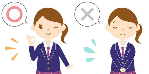 マルとバツを表現する女子高生