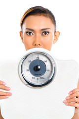 Asian woman with weight scale loosing weight