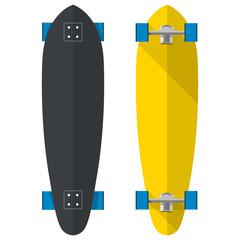Flat vector illustration of oval longboards