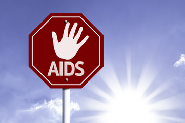 Stop Aids red sign with sun background