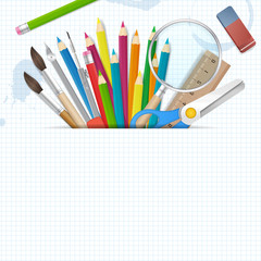 Back to school poster vector background with place for text