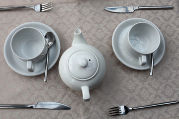 Two teacups and teapot