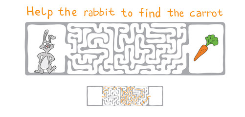 Vector Maze, Labyrinth with Rabbit  and Carrot.