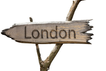 London , England , Europe wooden sign