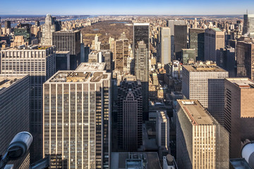 Aerial View of New York in the USA with Focus on Binoculars