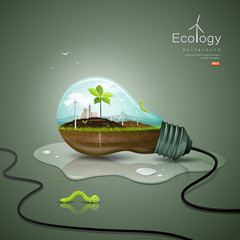 Light bulb ecology concept design background