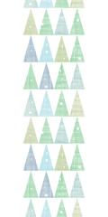 Abstract Christmas trees forest in snow vertical border seamless
