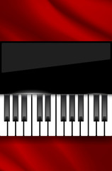 Red wavy fabric and piano keyboard - background for music poster