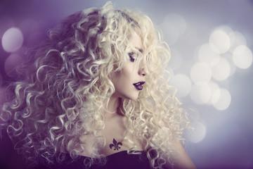 Woman Fashion Beauty Portrait, Model Girl Hairstyle Blond Hair