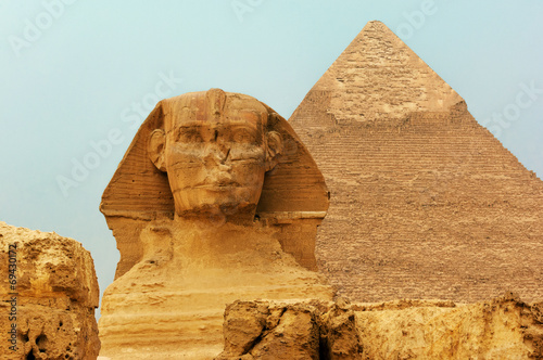 Spoed canvasdoek 2cm dik Egypte The Sphinx and Pyramids
