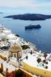 The Fira town with view on Aegean sea, Santorini island, Greece