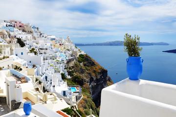 The view on Fira town and Aegean sea, Santorini island, Greece