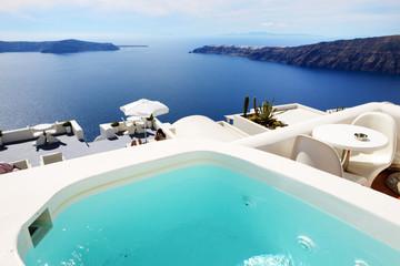 The sea view pool at luxury hotel, Santorini island, Greece