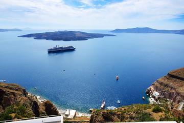 The view on Aegean sea and cruise ship, Santorini island, Greece