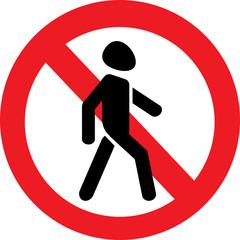 Векторный значок запрещающий ходьбу