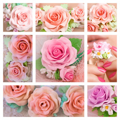 Beautiful roses, Romantic style: Collage of a polymer clay jewel