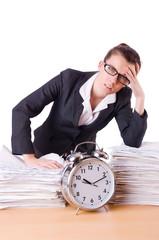 Woman businesswoman under stress missing her deadlines