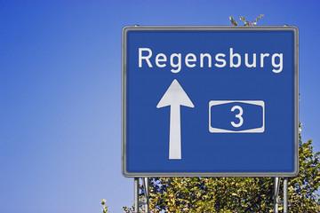 Wegweiser A3, Richtung Regensburg