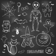 Halloween hand drawn doodles over black board