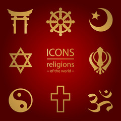 religions of the world. icons set