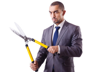 Man with shears in job cutting concept