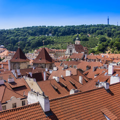 Prague, Czech Republic. View of the city of a survey platform
