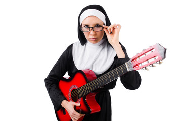 Nun with guitar isolated on the white