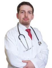 Freundlicher Medizinstudent schaut zur Kamera