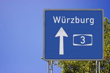 Wegweiser A3, Richtung Würzburg