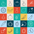 Fruits and vegetables vector icons