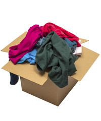 Clothes Overflowing In Box Isolated On White