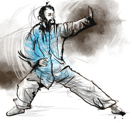 Taiji (Tai Chi). An full sized hand drawn illustration
