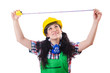 Woman construction worked measuring distance