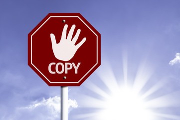 Stop Copy red sign with sun background