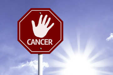 Stop Cancer red sign with sun background