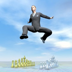 Businessman jumping upon chessboard - 3D render