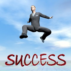 Businessman jumping upon success word - 3D render