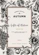 Autumn harvest. Vector vintage card. - 69435163