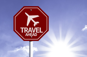 Travel Ahead red sign with sun background