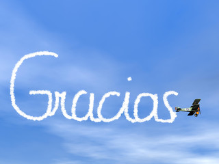 Gracias, spanish thank you message, from biplan smoke - 3D