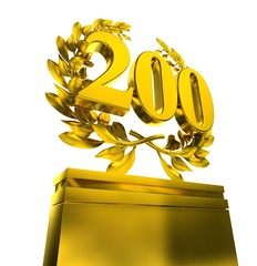 200 two-hundred number laurel wreath