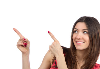 woman pointing hands finger at corner with copyspace