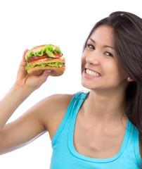 Fast food concept. Tasty unhealthy burger sandwich
