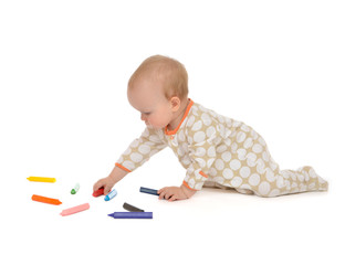 Infant child baby toddler sitting drawing painting