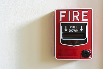 Fire alarm on white background .