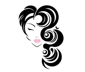 Long hair stile icon, logo girl's face