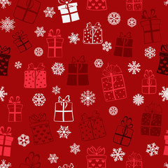 Seamless pattern of gift boxes, multicolored on maroon