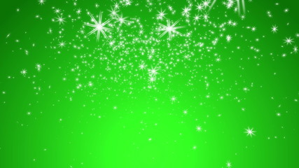 Stylistic Snowflakes with Green Background