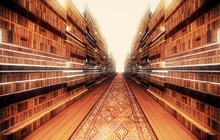 Mega 3D-Rendering-Bibliothek Buchhandlung